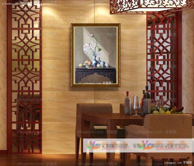 新中式油画手绘油画客厅挂画