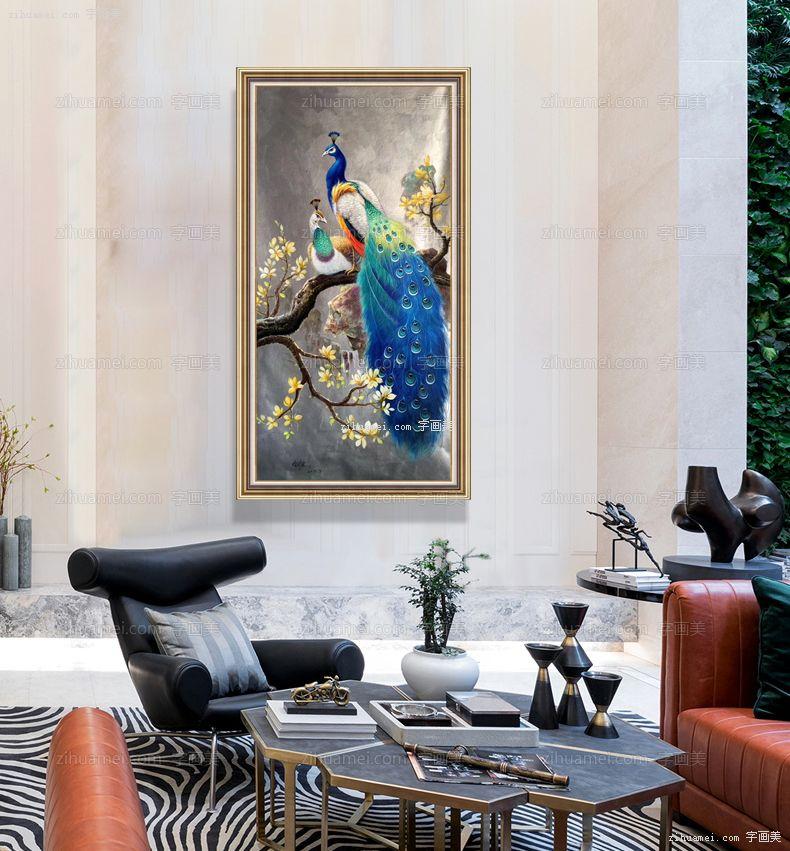 富贵孔雀中式手绘油画
